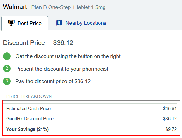 Walmart Discount for Plan B