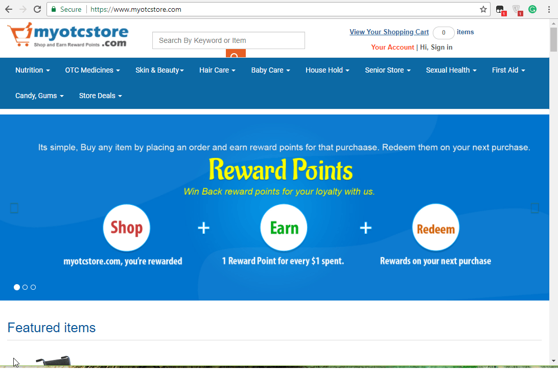 My OTC Store Home Page